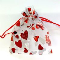 10 Organza favour Jewellery gift bags 120x100mm - Red